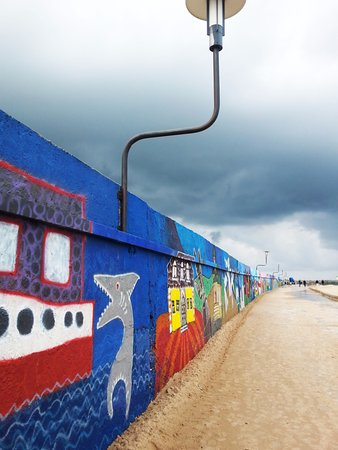 Ventspils, Latvia: the painted wall on the pier