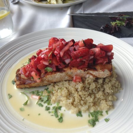 Middlebury, VT: Cancun salmon with strawberry pico and couscous