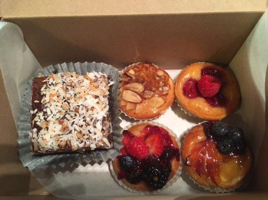 Karen Donatelli Bakery and Cafe: Mini fruit tarts and German Chocolate Brownie