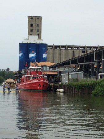 Buffalo Harbor Cruises: Sailing by Riverworks and the oldest active fire boat in the US, the Edward M Cotter.