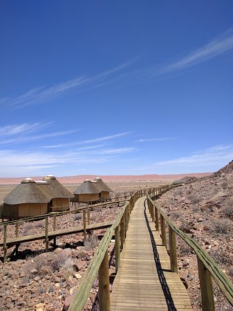 Sesriem, Namibia: the walkway from between the rooms and the dining-area/social-area.