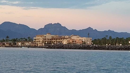 La Mision Loreto : View of hotel from our fishing panga in the morning