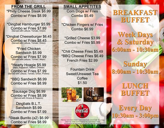 Garden City, GA: Our made to order menu, for those with a smaller appetite!