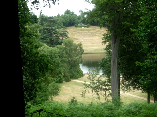 Claremont Landscape Garden: View from Mound across lake to 'steps' and viewpoint