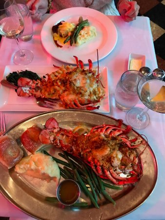 Hemenway's Seafood Grill & Oyster Bar: Bottom is a 2lb lobster stuffed with seafood. MIddle is lobster mac and cheese and top is filet.