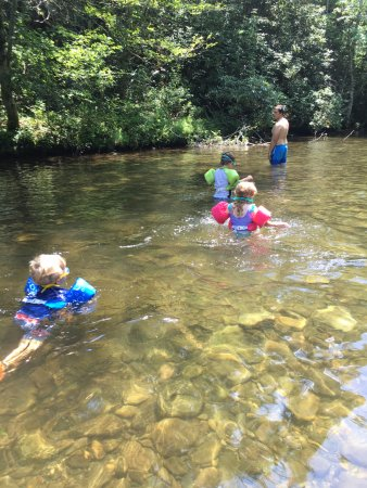 Metcalf Bottoms Picnic Area : Walking up stream so they could float back down.
