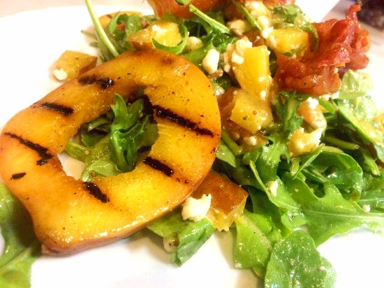Armonk, NY: Special: Arugula with fig vinaigrette, toasted sunflower seeds, grilled peaches, feta & prosciut