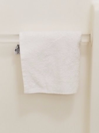 Comfort Suites Wixom: Previous guest Wash cloth hanging in shower
