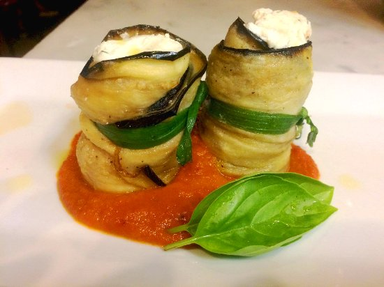 Armonk, NY: Special: eggplant stuffed with sheep's milk ricotta & whipped Hudson Valley Goat cheese.