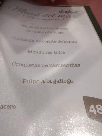Restaurante El Palco: Menú