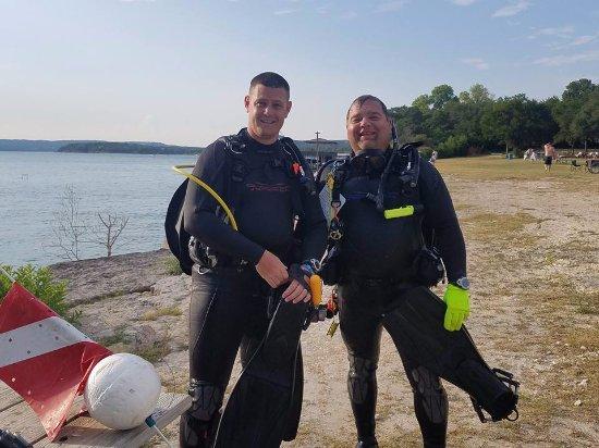 Uvalde, TX: Happy divers after Deep Adventure dive in Lake Travis (Austin, TX)
