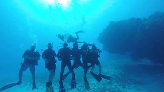 Uvalde, TX: Our group enjoying the Columbia Pinnacles at 65' in Cozumel MX, June 2017