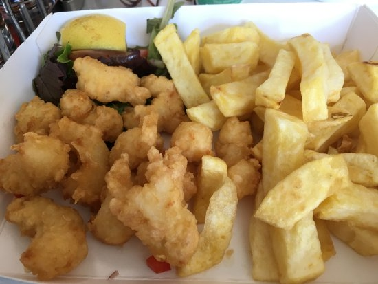 Anstruther, UK: Battered prawns.