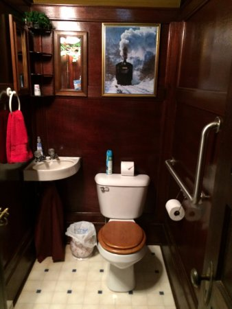 New York Mills, MN: Palace Car bathroom - whirlpool tub in separate room with a little woodstove-style electric heat