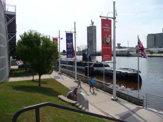 Manitowoc, WI: Submarines outside Maritime Museum along the Marina