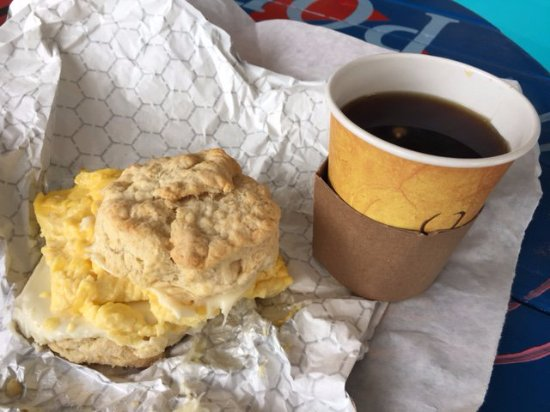 Dedham, MA: Egg and cheese on a homemade biscuit. Outstanding