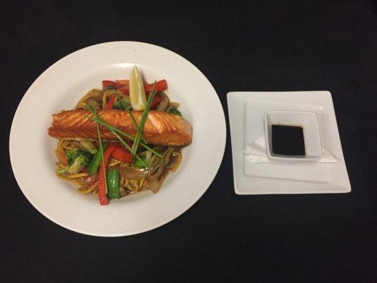 Braunton, UK: Salmon Teriyaki, a popular choice for lunch and dinner
