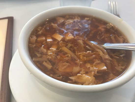 Highland Park, IL: Hot and sour soup (delicious, but their version contains meat)
