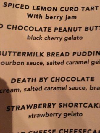 "Hermosa Beach, CA: Filet Mignon slab ""naked"" and dessert menu."