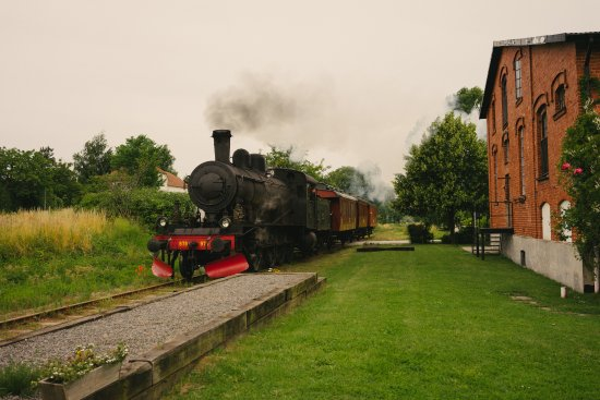 Ravlunda Branneri B&B: the old steam train outside Ravlunda