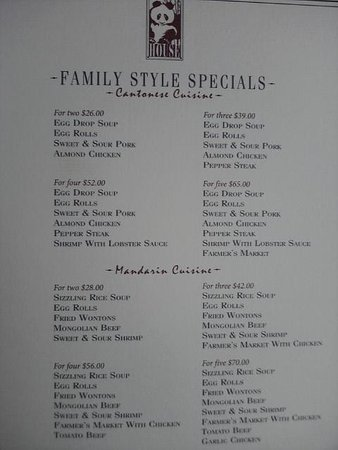 Panda House Chinese Restaurant: Family Style Menu (partial)