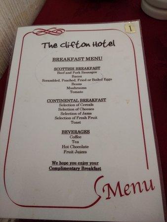 Clifton Hotel: Breakfast menu (July 2017)