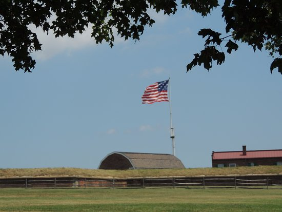 Fort McHenry National Monument: The flag that flies over Fort McHenry shows 15 stars for the states at the time of the War of 18