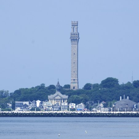 From the pier you can see Commercial Street, sitting just beneath Pilgrim Monument.