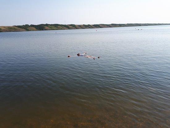Watrous, Canada: Effortlessly floating in Little Manitou Lake, July 2017