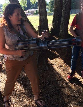 "Campbell River, Kanada: The ""Terminator"" running wild with the mini-gun."