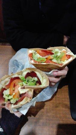 Au P'tit Grec : Savory crepes (feta and sutzuki / pastramy, potato, onion)