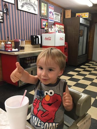 Spartanburg, SC: 3 Year Old Charlie Laughter gave Holmes Hot Dogs a big Thumbs Up Today.