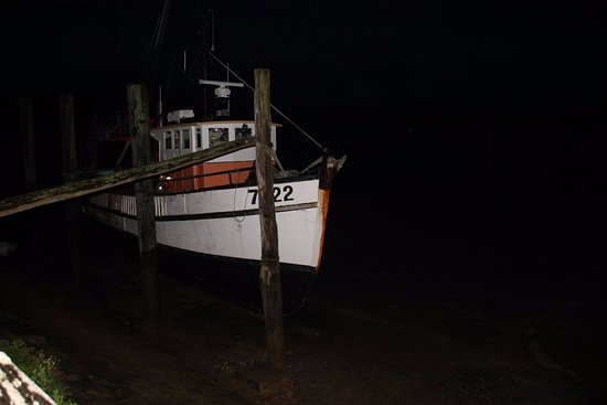 Raglan, Nova Zelândia: Fishing trawler tied up outside the door