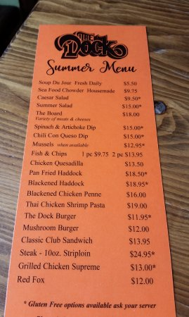 New Glasgow, Kanada: Summer menu - 2017