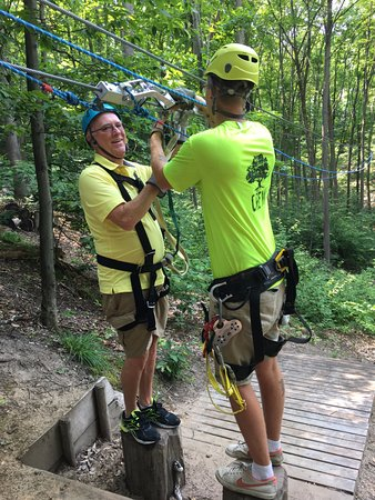 Boyne City, MI: My first time zip lining. It was out of my comfort zone, but that's what makes it worth the trip