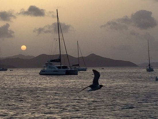 Road Town, Tortola: A beautiful, almost black and white, sunset in the BVIs.