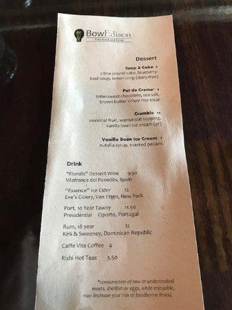 Bow, WA: Dessert menu