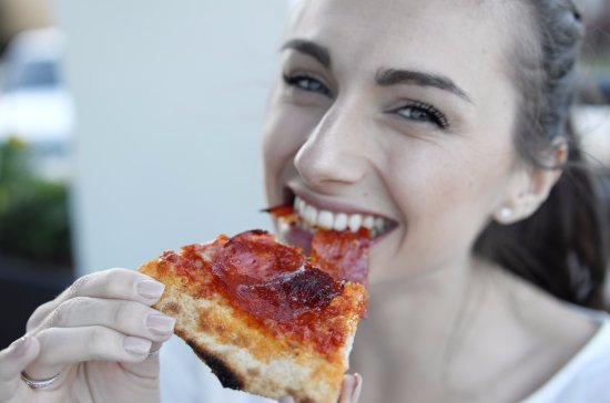 Neptune Beach, FL: Me enjoying the simple things in life, like my awesome pizza :)