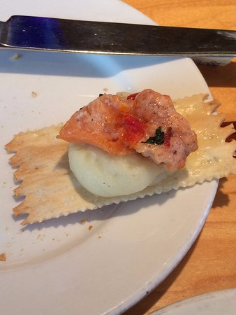 Anthony's HomePort: Smoked salmon atop mashed potatoes on flatbread