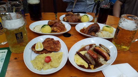 Augustiner-Keller: pork knuckles, sausages, schnitzel are all delicious