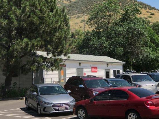 Golden, CO: Restrooms adjacent to waiting line for shuttle buses