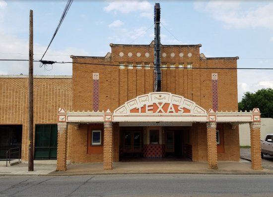 Seguin, TX: Front view of the Stephen and Mary Birch Texas Theatre after renovations.