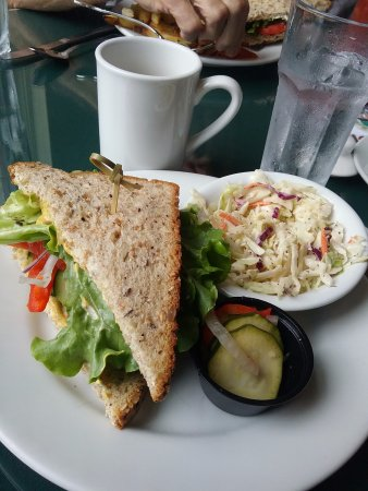 Skylarks Hidden Cafe: Vegetarian sandwich with coleslaw side lovely zucchini pickles.