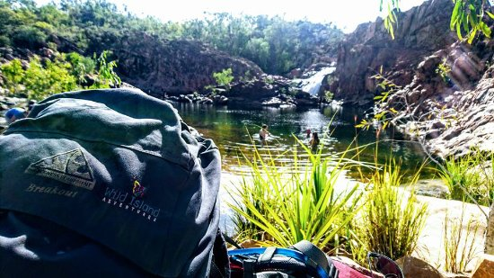 Westbury, Australia: One of our brilliant packs relaxing by Edith Falls at the end of the Jatbula Trail