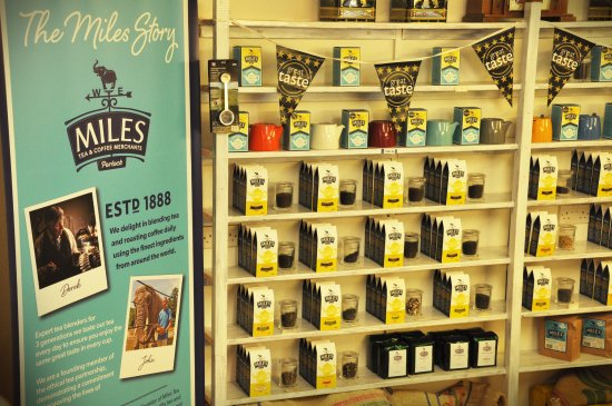 Porlock, UK: Some of the Miles loose tea range including fruit and herbal infusions.