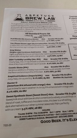 Bridgeport, CT: Aspetuck Menu