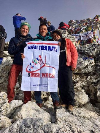 Bhaktapur, Nepal: Nepal Trek Ways Crew and Travelers at kalaPathar, Everest View Point