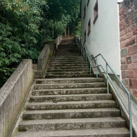 Landstuhl, Germany: Stairs that lead to the hiking trail. Near the tourist Information Center