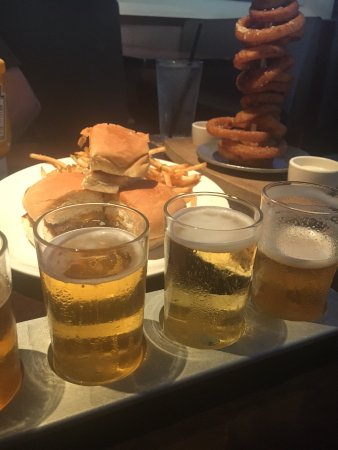 Yard House: Sliders and onion rings
