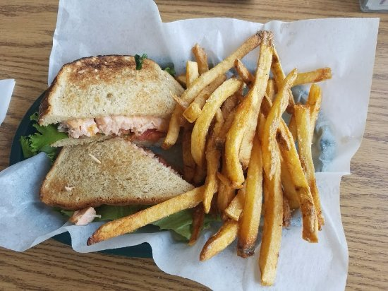 Pineville, MO: Salmon BLT with scrumptious fries!